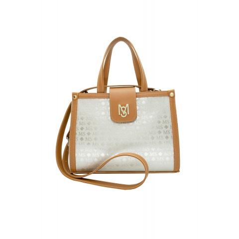 Bolsa Feminina Monica Sanches 3577 Transfer Ouro Light / caramelo