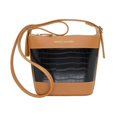 Bolsa Feminina Monica Sanches 3584 Croco Preto / caramelo