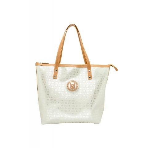 Bolsa Feminina Monica Sanches 3635 Transfer ouro light / line caramelo